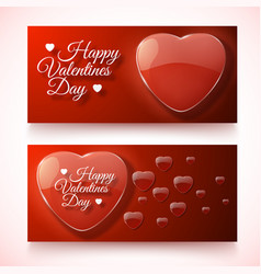 romantic valentines day horizontal banners vector image