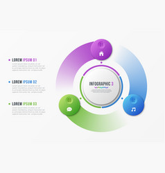 Rotating circle chart template with 3 options vector