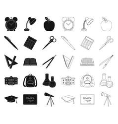 school and education blackoutline icons in set vector image