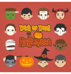 Set of halloween head trick or treat vector image