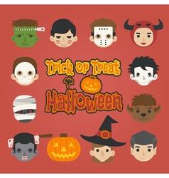 set of halloween trick or treat vector image