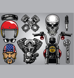 Set of high detailed motorcycle element vector