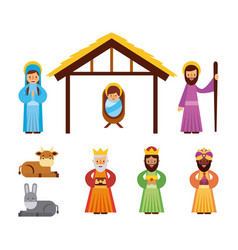 Set of people animal manger christmas holiday vector
