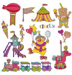 Set Vintage Circus Elements vector