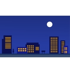 Silhouette of city apartment at night vector image
