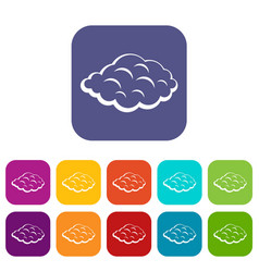 Small cloud icons set flat vector