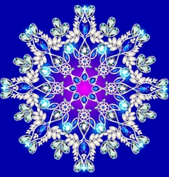 Snowflake made of precious stones on a blu vector