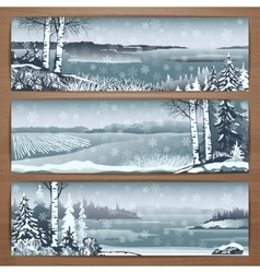 Snowy banners 1 vector