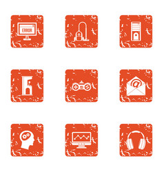 Software error icons set grunge style vector
