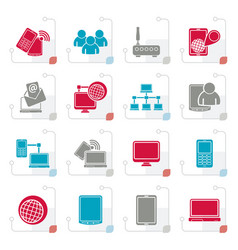 stylized communication and technology equipment ic vector image