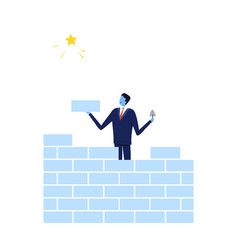 Successful businessman building brick wall trying vector