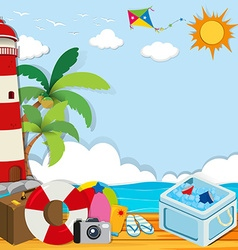 Summer theme with objects on the beach vector
