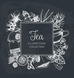 Tea design on chalkboard vector
