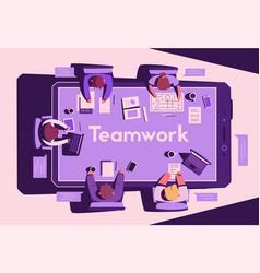 Teamwork at smartphone desk coworking concept vector