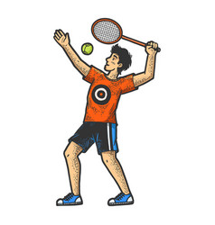 tennis player sketch engraving vector image