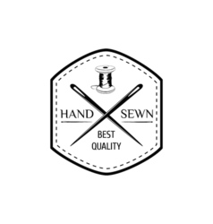 the hand sewing stripe needle thread sewing studio vector image