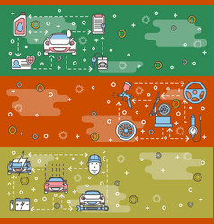 thin line art car service web banner vector image