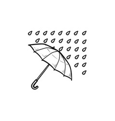 umbrella with rain hand drawn outline doodle icon vector image