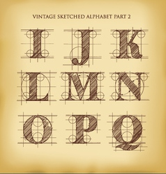 Vintage sketched alphabet set 2 vector image