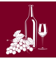 vintage still life with wine and grapes vector image