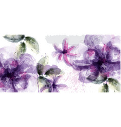 Violet flowers watercolor card purple and vector