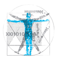 Vitruvian man of computer age vector