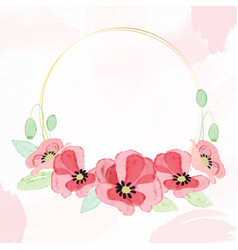 watercolor red poppy flower wreath with golden vector image