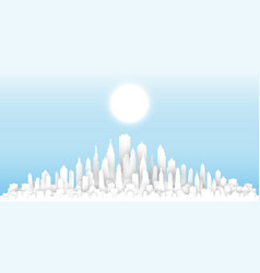 white paper cut sunny day cityscape template vector image