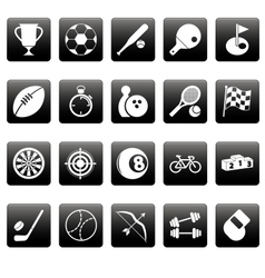 White sport icons on black squares vector image