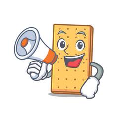 With megaphone graham cookies character cartoon vector