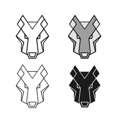 Wolf geometric head set vector image