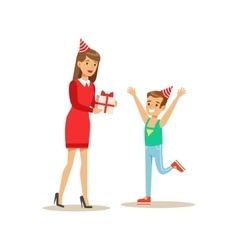 Woman Giving Boy A Present Kids Birthday Party vector