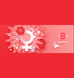 Womens day pink paper craft spring flower banner vector