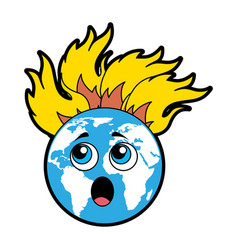 World planet with flames comic character vector
