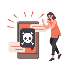 Young upset woman with hacked smartphone vector