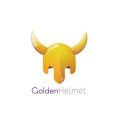 a golden helmet with horns vector image