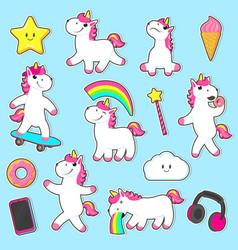 big set of rainbow unicorn character stickers vector image