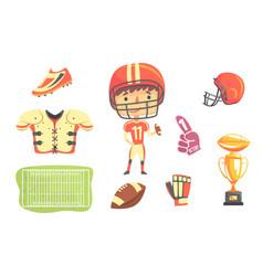 boy american football player kids future dream vector image vector image
