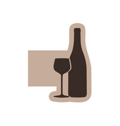 color emblem with silhouette wine bottle and glass vector image