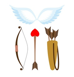 Cupid weapons set Bow and arrow with heart Quiver vector image vector image