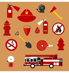 Fire safety firefighter and protection flat icons vector image