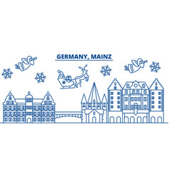 germany mainz winter city skyline merry vector image vector image