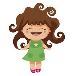 kawaii cheerful curly baby-grl vector image vector image