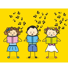 kids singing vector image vector image