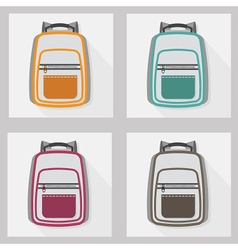 school bags and back packs icon set pattern vector image vector image