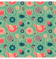 Seamless patternBirds and flowers vector image vector image