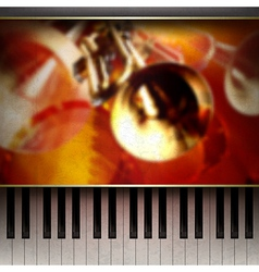 abstract grunge red background with piano and vector image