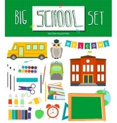 Big school set with school elements school bus vector image