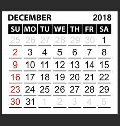 calendar sheet december 2018 vector image