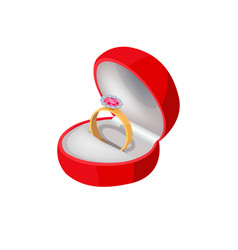 engagement ring in red box with precious stone vector image